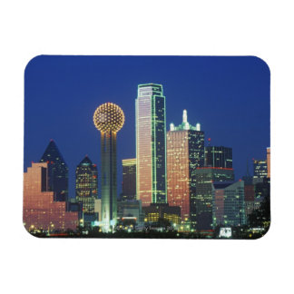 'Dallas, TX skyline at night with Reunion Tower' Rectangular Magnet