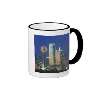 'Dallas, TX skyline at night with Reunion Tower' Ringer Mug