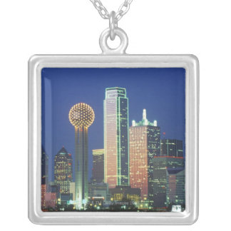 'Dallas, TX skyline at night with Reunion Tower' Silver Plated Necklace