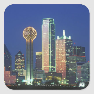 'Dallas, TX skyline at night with Reunion Tower' Square Sticker