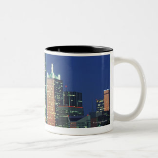 'Dallas, TX skyline at night with Reunion Tower' Two-Tone Coffee Mug