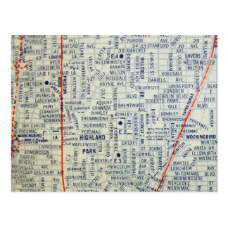 DALLAS, TX Vintage Map Postcard