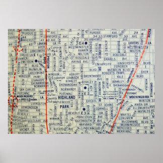 Dallas, TX Vintage Map Poster