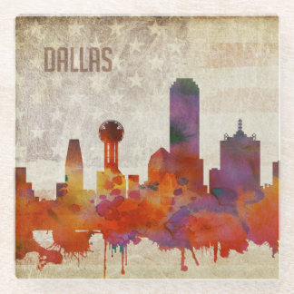 Dallas, TX | Watercolor City Skyline Glass Coaster