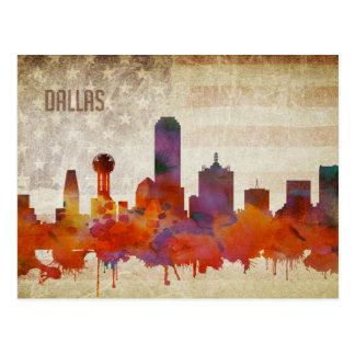 Dallas, TX | Watercolor City Skyline Postcard