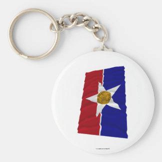 Dallas Waving Flag Basic Round Button Keychain