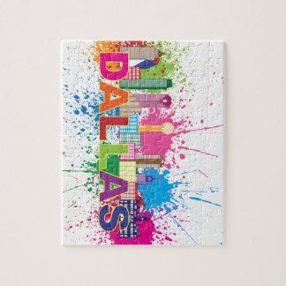 Dalles Texas Skyline Paint Splatter Illustration Puzzles