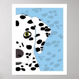Dalmatian   Abstract Dog Art   Blue, White & Black Poster