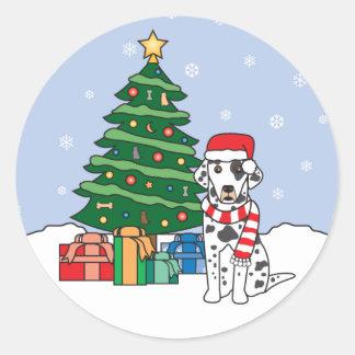 Dalmatian and Christmas Tree Round Sticker