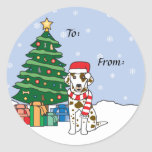 Dalmatian and Christmas Tree Round Stickers