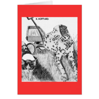 Dalmatian and Kitten Card