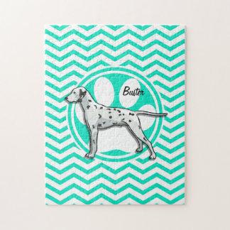 Dalmatian; Aqua Green Chevron Jigsaw Puzzle