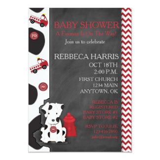 """Dalmatian Baby Shower Chevron Chalkboard Invite 5"""" X 7"""" Invitation Card"""