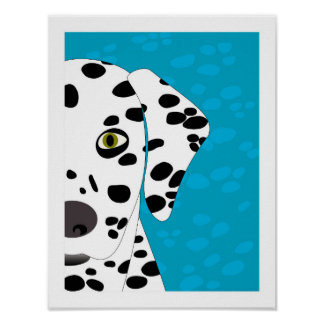 Dalmatian   Blue, White & Black Abstract Dog Art Poster