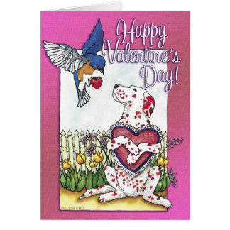 Dalmatian & Bluebird Valentine Card