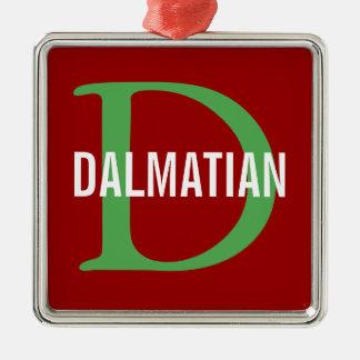Dalmatian Breed Monogram Design Christmas Tree Ornament