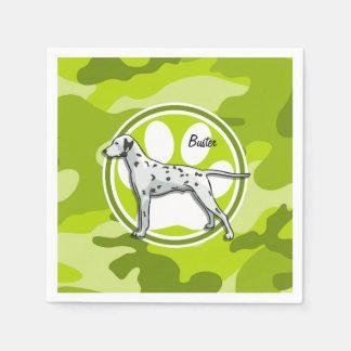 Dalmatian; bright green camo, camouflage paper napkin