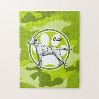 Dalmatian; bright green camo, camouflage jigsaw puzzle