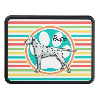 Dalmatian; Bright Rainbow Stripes Trailer Hitch Covers