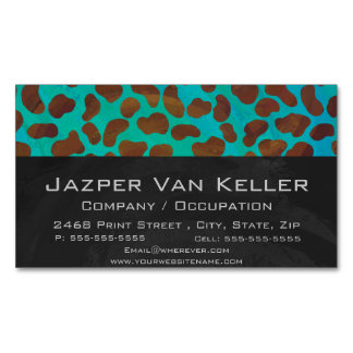 Dalmatian Brown and Teal Print Business Card Magnet