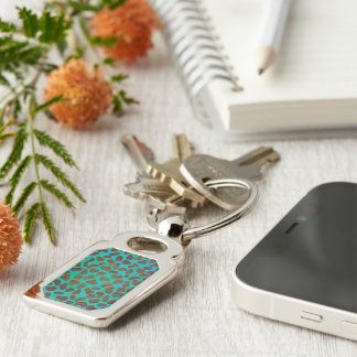 Dalmatian Brown and Teal Print Silver-Colored Rectangular Metal Keychain