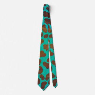 Dalmatian Brown and Teal Print Tie