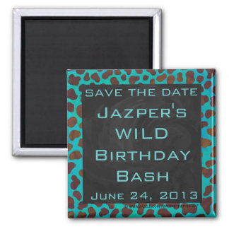 Dalmatian Brown and Teal with Monogram 2 Inch Square Magnet