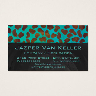 Dalmatian Brown and Teal with Monogram Business Card
