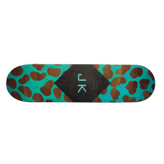 Dalmatian Brown and Teal with Monogram Skateboard Deck