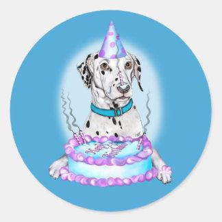 Dalmatian Cake Face Birthday Classic Round Sticker
