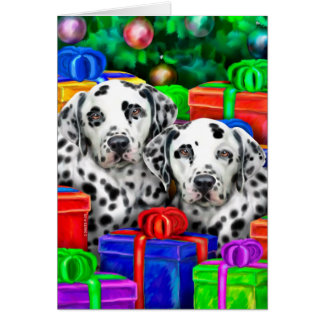 Dalmatian Christmas Open Gifts Cards