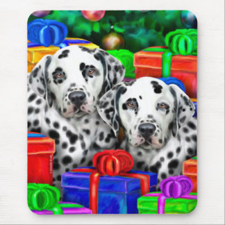 Dalmatian Christmas Open Gifts Mouse Pad