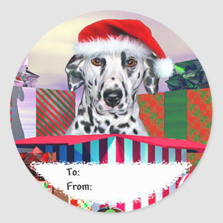 Dalmatian Christmas Surprise Gift Tags Classic Round Sticker