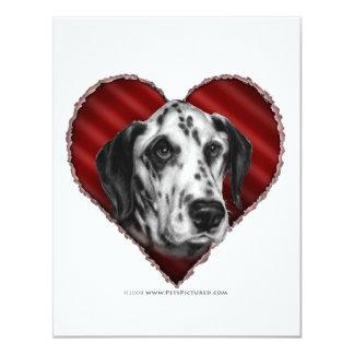 """Dalmatian con el corazón invitación 4.25"""" x 5.5"""""""