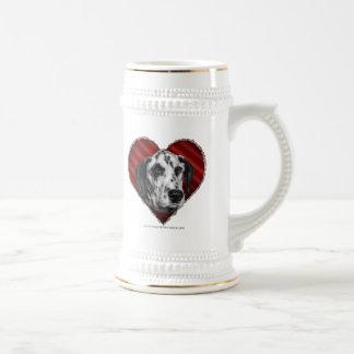 Dalmatian con el corazón tazas