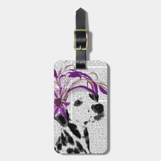 Dalmatian con Fascinator púrpura Etiqueta Para Equipaje