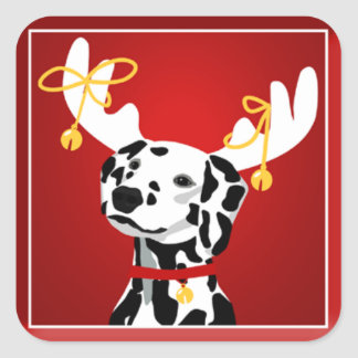 Dalmatian Deer  Dog Christmas Round Sticker