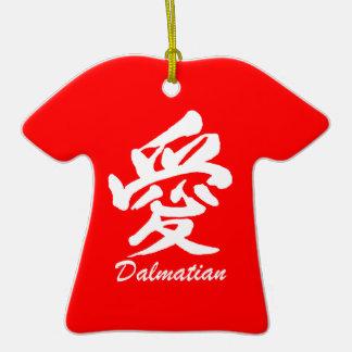 dalmatian del amor adorno de cerámica en forma de camiseta