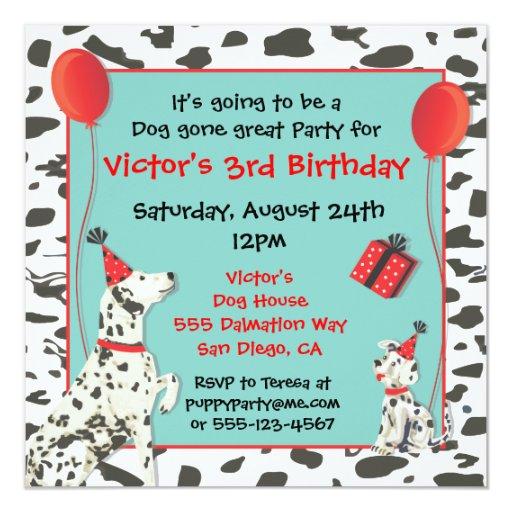 Dalmatian Dog and Puppy Birthday Party Invitations