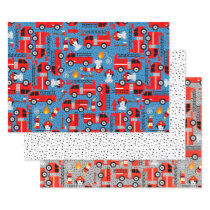 Dalmatian Dog Firefighters With Firetrucks Cute Wrapping Paper Sheets