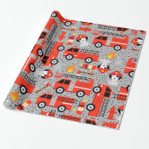 Dalmatian Dog Firefighters With Firetrucks Wrappin Wrapping Paper