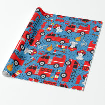 Dalmatian Dog Firefighters With Firetrucks Wrapping Paper