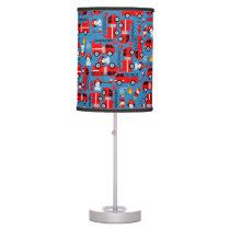 Dalmatian Dog Firetruck Firefighters Blue Pattern Table Lamp