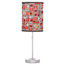 Dalmatian Dog Firetruck Firefighters Gray Pattern Table Lamp
