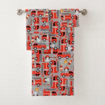 Dalmatian Dog Firetruck Firefighters Kids Pattern Bath Towel Set
