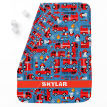 Dalmatian Dog Firetruck Firefighters Personalized Baby Blanket