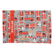 Dalmatian Dog Firetruck Firefighters Personalized Pillow Case