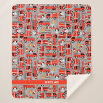Dalmatian Dog Firetruck Firefighters Personalized Sherpa Blanket