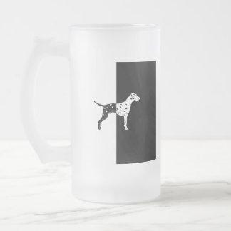 Dalmatian dog frosted glass beer mug