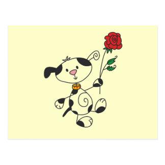 Dalmatian Dog With Rose Postcard